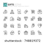 outline icons about gifts.... | Shutterstock .eps vector #748819372