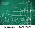blueprints. mechanical drawings.... | Shutterstock .eps vector #748819882