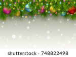 christmas background with fir... | Shutterstock .eps vector #748822498