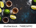 tequila with lime and salt ... | Shutterstock . vector #748826992