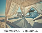 luxury beach vacation. beach... | Shutterstock . vector #748830466