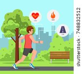 young man running or jogging in ... | Shutterstock .eps vector #748832512