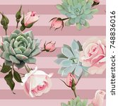 Stock vector succulents and roses vector seamless pattern of floral ornament with dusty pink stripes 748836016