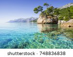 Beautiful bay near Brela town, Makarska rivera, Dalmatia, Croatia - stock photo