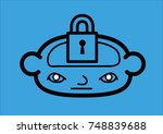 a head icon with a padlock... | Shutterstock .eps vector #748839688
