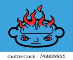 a head icon with a brain in... | Shutterstock .eps vector #748839835