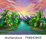 mountain river in a fantastic... | Shutterstock .eps vector #748842805