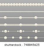 pearl glamour borders. vector... | Shutterstock .eps vector #748845625