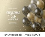 christmas sale background with... | Shutterstock .eps vector #748846975