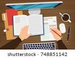 flat lay working desk vector... | Shutterstock .eps vector #748851142