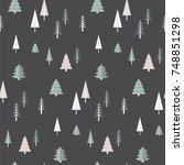 christmas winter forest... | Shutterstock .eps vector #748851298