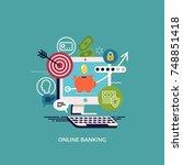 online banking flat vector... | Shutterstock .eps vector #748851418