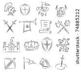 medieval sketch set | Shutterstock .eps vector #74885212