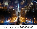 colorful fireworks above... | Shutterstock . vector #748856668