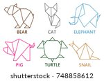 origami animals collection. set ... | Shutterstock .eps vector #748858612