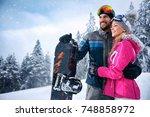 love smiling couple enjoying on ... | Shutterstock . vector #748858972