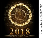 vector 2018 happy new year... | Shutterstock .eps vector #748861636