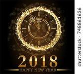 vector 2018 happy new year... | Shutterstock .eps vector #748861636