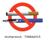 no smoking no vaping sign ban... | Shutterstock .eps vector #748866415