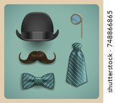 set of gentleman accessories.... | Shutterstock .eps vector #748866865