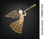 golden angel silhouette with... | Shutterstock .eps vector #748869196
