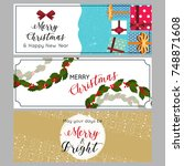 set of christmas and new year... | Shutterstock .eps vector #748871608