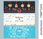 set of christmas and new year... | Shutterstock .eps vector #748871632