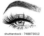 hand drawn woman's luxurious... | Shutterstock .eps vector #748873012