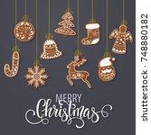 set of christmas gingerbread... | Shutterstock .eps vector #748880182