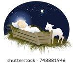 jesus in the crib   Shutterstock .eps vector #748881946