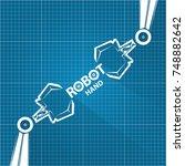 vector robotic arm symbol on... | Shutterstock .eps vector #748882642