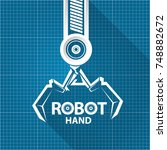 vector robotic arm symbol on... | Shutterstock .eps vector #748882672