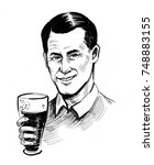man with a glass of beer | Shutterstock . vector #748883155