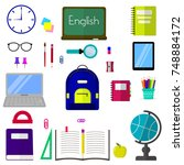 a set of subjects for education.... | Shutterstock . vector #748884172