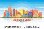 jerusalem   israel   skyline...   Shutterstock .eps vector #748885312