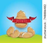 vector sweet brown potato with... | Shutterstock .eps vector #748886482