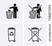 trash can icons. bin icons. do... | Shutterstock .eps vector #748887895