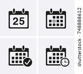 calendar icons vector. reminder ... | Shutterstock .eps vector #748888612
