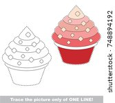 cake to be traced only of one... | Shutterstock .eps vector #748894192