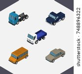 isometric car set of lorry ...