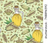 seamless pattern with sesame... | Shutterstock .eps vector #748896592