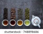 different types of tea for... | Shutterstock . vector #748898686
