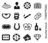 las vegas and casino icons.... | Shutterstock .eps vector #748899082