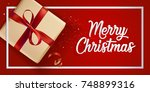 modern christmas 2018 greeting... | Shutterstock .eps vector #748899316