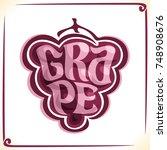 vector logo for red grape ... | Shutterstock .eps vector #748908676