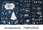 christmas menu template. chalk... | Shutterstock .eps vector #748910926
