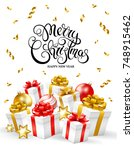 merry christmas and happy new... | Shutterstock .eps vector #748915462