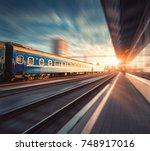 beautiful train with blue... | Shutterstock . vector #748917016