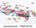 glitter paper hearts  white... | Shutterstock . vector #748918762