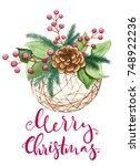 merry christmas card  handmade  ... | Shutterstock . vector #748922236